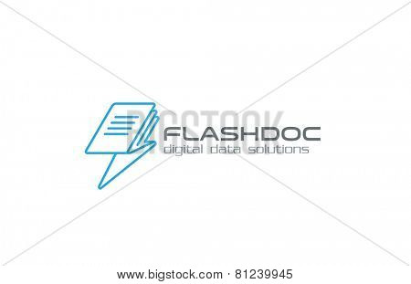 Digital Data, book, page, mail, message, file Logo abstract as flash symbol design vector template. Speed download upload data Logotype creative concept icon.