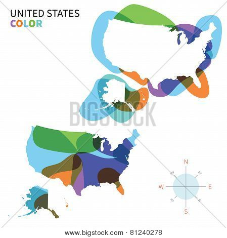 Abstract vector color map of United States with transparent paint effect.