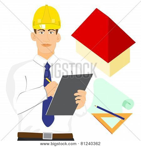 Illustration Of Architect Or Engineer With Clipboard Vector Isolated