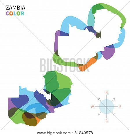 Abstract vector color map of Zambia with transparent paint effect.