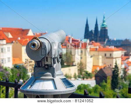 Tourist Telescope. Prague, Czech Republic
