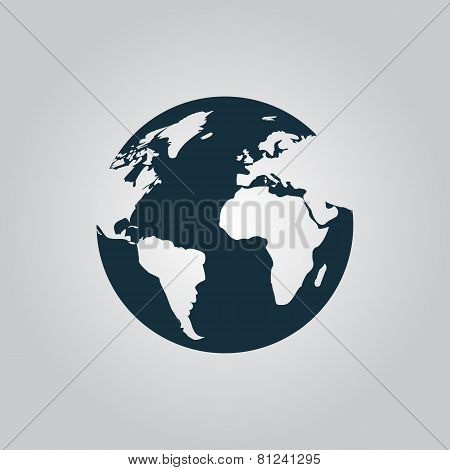 Globe earth vector icons on grey background.