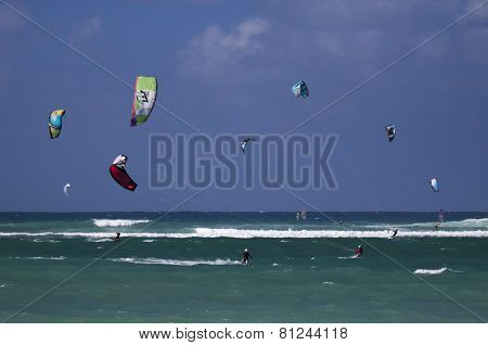 Kitesurfing in Maui, Hawaii.