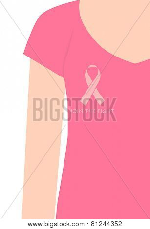 Breast Cancer Awareness cards design, women wearing ribbons for breast cancer. Vector Illustration.
