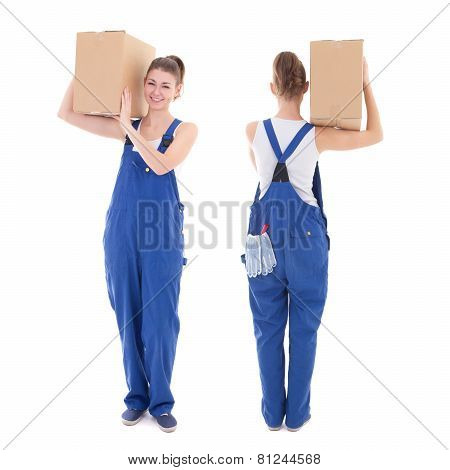 Front And Rear View Of Young Attractive Woman In Blue Workwear With Cardboard Box Isolated On White