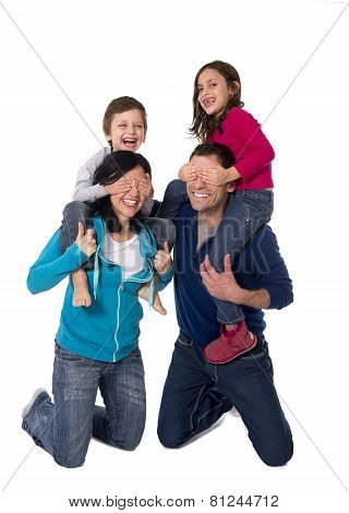 Happy Brazilian Family Mother And Father Playing With Little Son And Daughter Having Fun