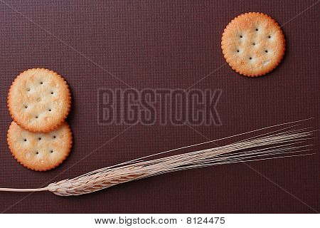 Cookies On Brown Background