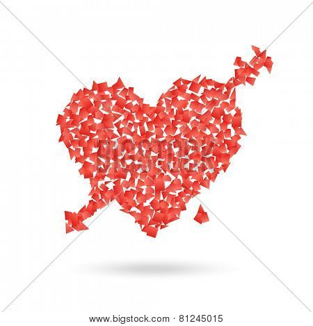Abstract red heart with the arrow. Valentines illustration