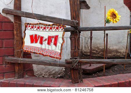 Humorous sign Wi-Fi in ukrainian design style