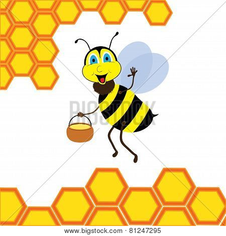 Cartoon bee with brimful jar