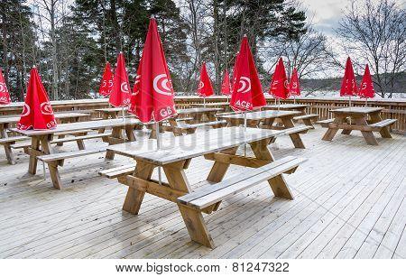 Red Parasols With Icecream Logos