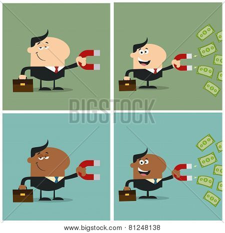 Manager Using A Magnet To Attracts Money. Flat Style Collection Set