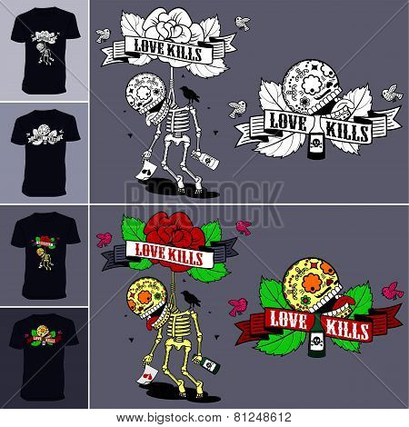 Skeletons. T-shirt. Love Kills.