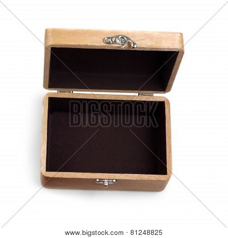 antique wooden  brown caskets box isolated on white background