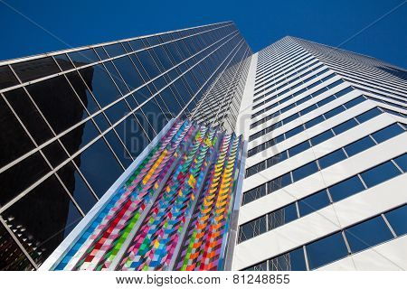 Art Sculpture On The Wall Of A Skyscraper In Chicago, Usa