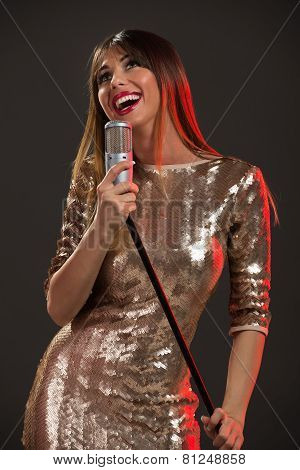 Woman Singer In Sequin Dress