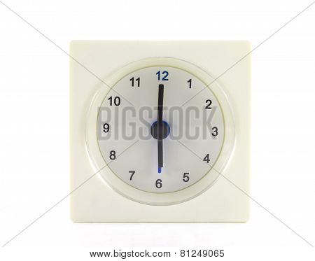 The Clock Isolated On White Background 6 O'clock
