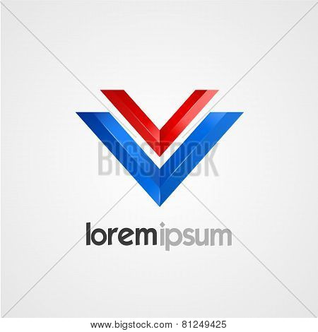 Pair of V symbol vector template.
