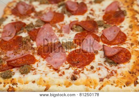 Gourmet Pizza With Four Kinds Of Meat