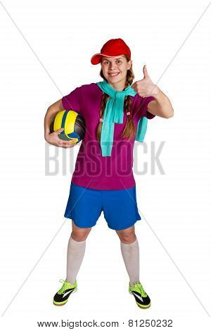 Sportswoman With Ball