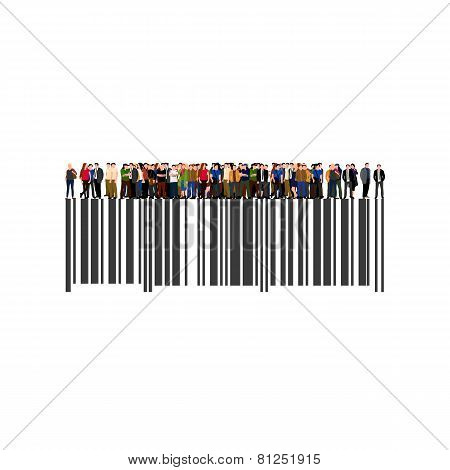 Crowd of businesspeople on the bar code.