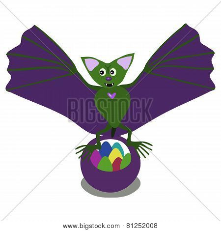 Green bat with easter eggs.