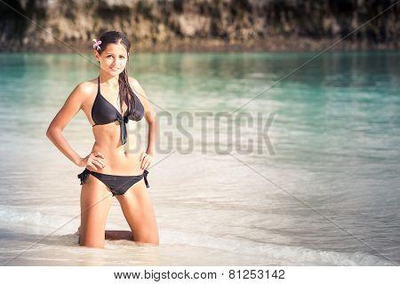 Brunette Girl In Black Bikini