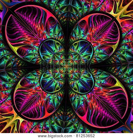 Multicolored Diagonal Symmetric Pattern Of The Leaves. Collection - Tree Foliage. In Purple, Blue, G