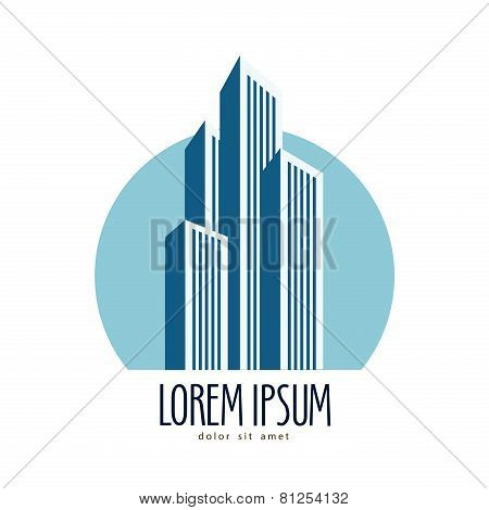 City vector logo design template. skyscrapers or construction icon.