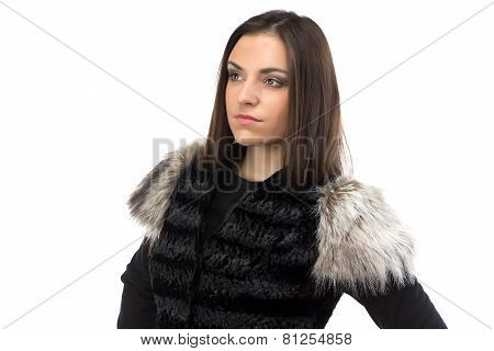 Photo of attractive woman in black fur waistcoat