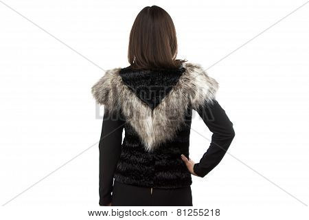 Image woman in black fur waistcoat from the back