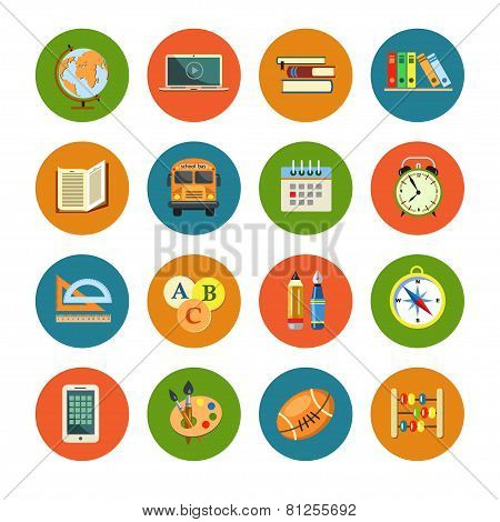 Flat Education Icons Set