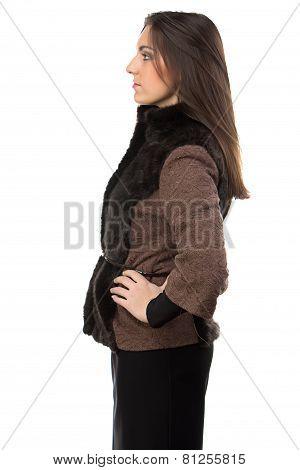 Photo of woman in brown fur waistcoat - profile