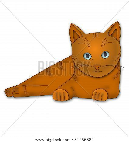 Lying ginger cat