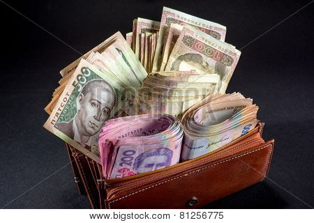 Ukrainian money in the wallet