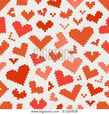 Different abstract heart icons seamless pattern