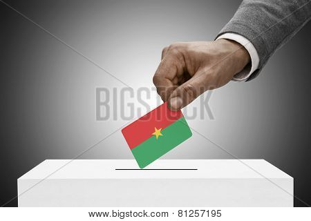 Black Male Holding Flag. Voting Concept - Burkina Faso
