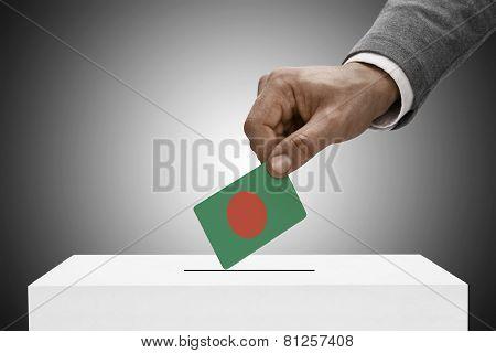 Black Male Holding Flag. Voting Concept - Bangladesh