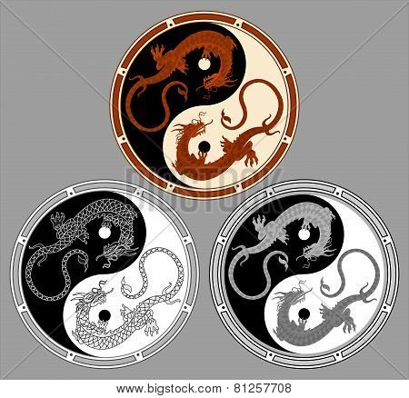 Dragon the yin yang