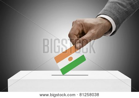 Black Male Holding Flag. Voting Concept - Niger