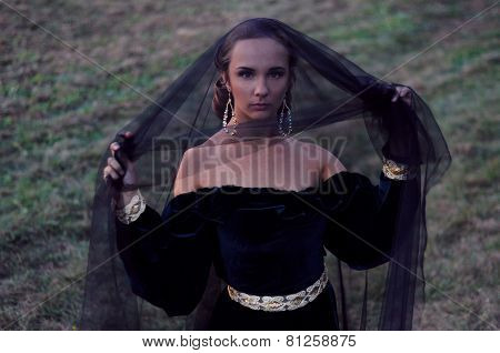 Young Widow Wearing Black Veil