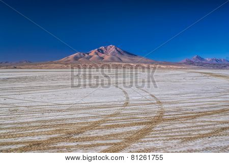 Wheel tracks in desert