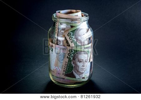 Ukrainian money in the jar
