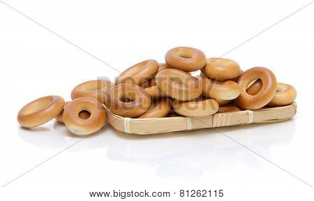 Bagels On A White Background With Reflection