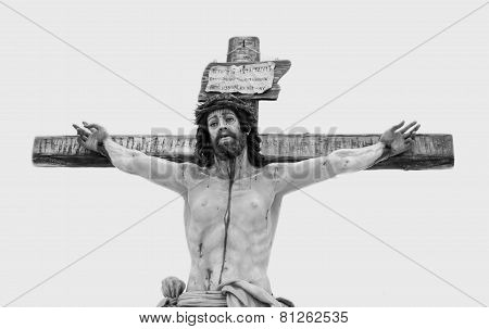 Black and white photograph of a crucifix crista