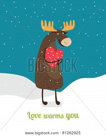 Love warms you. Cute moose hugging big red heart under falling snowflakes