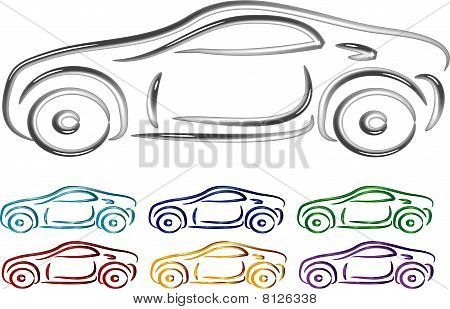 Set of Car design in 3D illustration