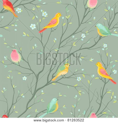 Seamless retro vector pattern with colored birds.