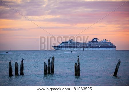 KEY WEST, FLORIDA - DECEMBER 26: Cruise ship Celebrity Constellation at sunset on December 26, 2014 off coast of Key West, Florida.