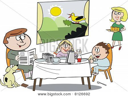 Family breakfast cartoon